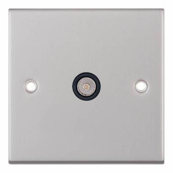 Slimline 1 Gang Single TV Socket - Satin Chrome - With Black Interior