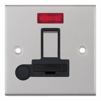 Slimline 13A Switch Fused Spur Neon/Flex- S Chrome - With Black Interior