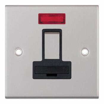 Slimline 13A Switched Fused Spur Neon Satin Chrome - With Black Interior