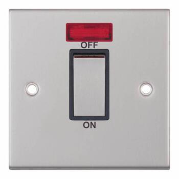 Slimline Satin Chrome 45A 1G DP Cooker/Shower Switch  - Black Interior With Neon