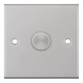 Slimline Satin Chrome Dimmer Switch  - 1g 2 way 400W