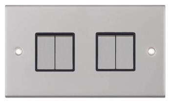 Slimline 2 Way 4 Gang Light Switch - Satin Chrome - With Black Interior