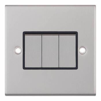 Slimline 2 Way Triple Light Switch - Satin Chrome - With Black Interior