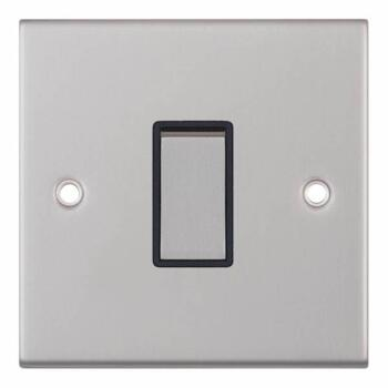 Slimline 1 Gang 2 Way Light Switch - Satin Chrome - With Black Interior