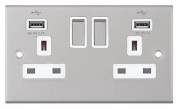 Slimline USB Double Socket - Satin Chrome - With White Interior