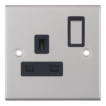 Slimline 13A Single Switched Socket - Satin Chrome - With Black Interior