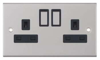Slimline 13A Double Switched Socket - Satin Chrome - With Black Interior