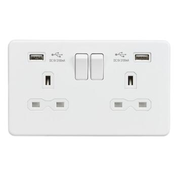 Screwless Matt White Switched Socket With USB - Double