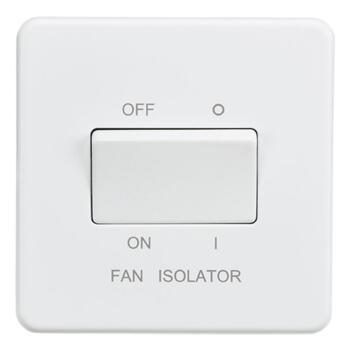 Screwless Matt White Fan Isolator Switch - Single
