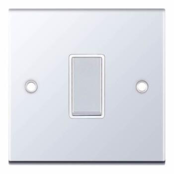 Slimline 1 Gang Intermediate Switch - P/Chrome - With White Interior