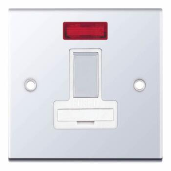 Slimline 13A Switched Fused Spur - Neon - P/Chrome - With White Interior