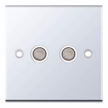 Slimline 2 Gang Twin TV/FM Socket - P/Chrome - With White Interior