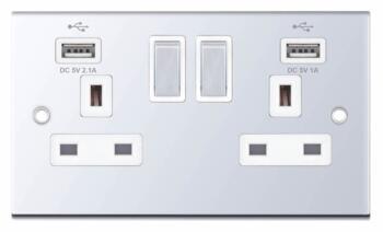 Slimline USB Double Socket - Polished Chrome - With White Interior