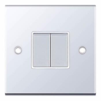Slimline 2 Way Double Light Switch - P/Chrome - With White Interior