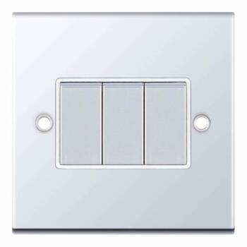 Slimline 2 Way Triple Light Switch - P/Chrome - With White Interior