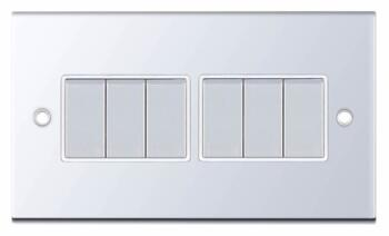 Slimline 2 Way 6 Gang Light Switch - P/Chrome - With White Interior