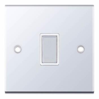 Slimline 20A DP Switch - P/Chrome - With White Interior