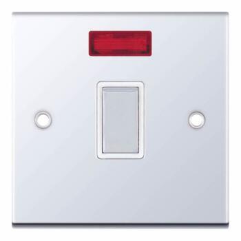 Slimline 20A DP Switch - Neon - P/Chrome - With White Interior