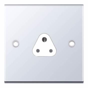 Slimline 2A Single Round Pin Socket - P/Chrome - With White Interior