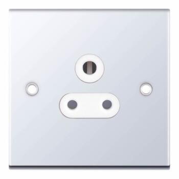 Slimline 5A Single Round Pin Socket - P/Chrome - With White Interior