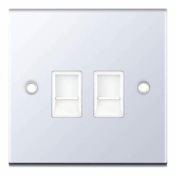 Slimline Twin RJ45 Data Outlet Socket - P/Chrome - With White Interior
