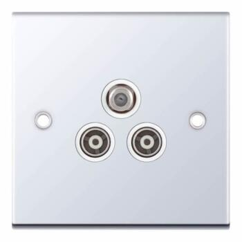 Slimline 3 Gang Satellite & TV Socket - P/Chrome - With White Interior