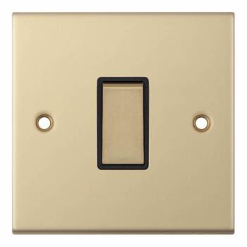 Slimline 1 Gang 2 Way Light Switch - Satin Brass - With Black Interior