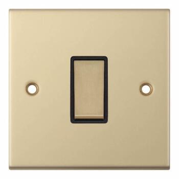 Slimline 1 Gang Intermediate Switch - Satin Brass - With Black Interior