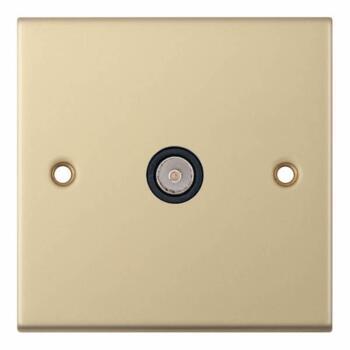Slimline 1 Gang Single TV Socket - Satin Brass - With Black Interior