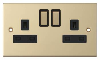 Slimline 13A Double Switched Socket - Satin Brass - With Black Interior