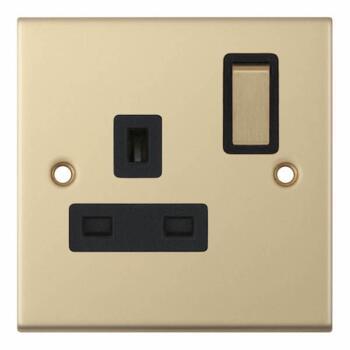 Slimline 13A Single Switched Socket - Satin Brass - With Black Interior