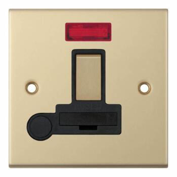 Slimline 13A Switch Fused Spur-Neon/Flex-Sat Brass - With Black Interior