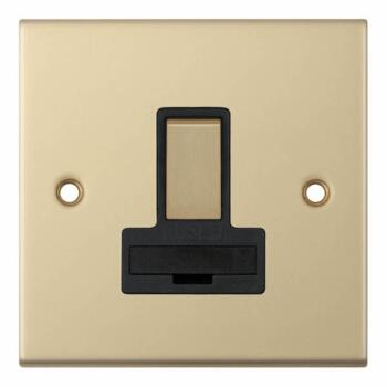 Slimline 13A Switched Fused Spur - Satin Brass - With Black Interior