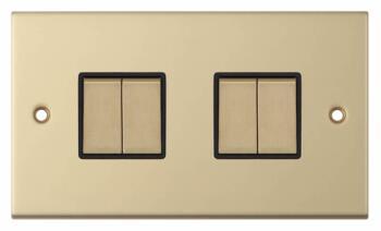 Slimline 2 Way 4 Gang Light Switch - Satin Brass - With Black Interior