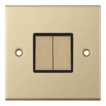 Slimline 2 Way Double Light Switch - Satin Brass - With Black Interior
