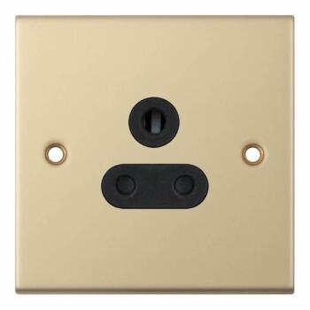 Slimline 5A Single Round Pin Socket - Satin Brass - With Black Interior