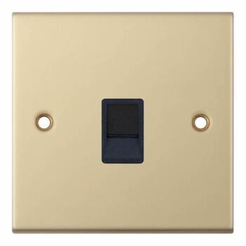 Slimline Single RJ45 Data Outlet Socket -Sat Brass - With Black Interior