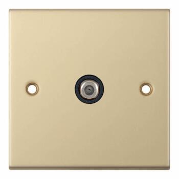 Slimline Single Satellite Socket - Satin Brass - With Black Interior