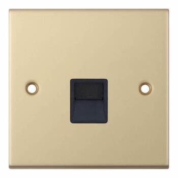 Slimline Single Telephone Socket Master -Sat Brass - With Black Interior