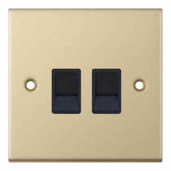 Slimline Twin RJ45 Data Outlet Socket- Satin Brass - With Black Interior