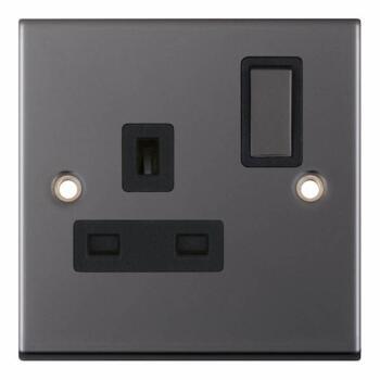 Slimline Black Nickel Single Socket  - With Black Interior