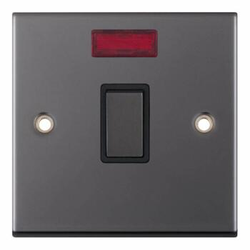 Slimline Black Nickel 20A DP Switch  - With Neon