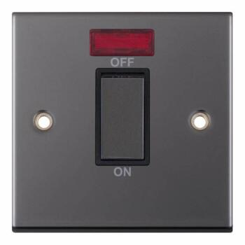 Slimline Black Nickel 45A DP Cooker / Shower Switch  - 1 Gang With Neon
