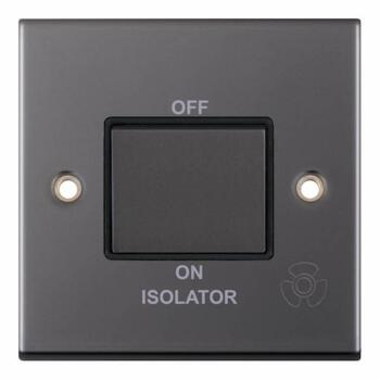 Slimline Black Nickel Fan Isolator  - 1 Gang Single