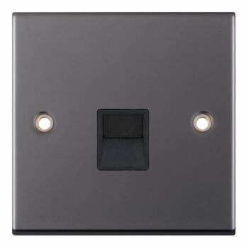 Slimline Black Nickel Phone Socket - Secondary / Slave