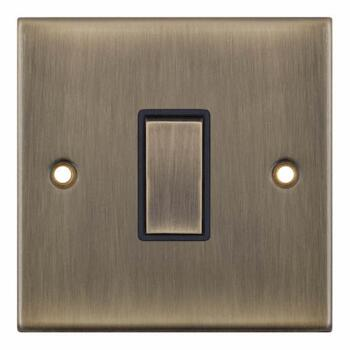 Slimline Antique Brass Light Switch -  - 1 Gang 2 Way Single
