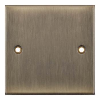 Slimline Antique Brass Blank Plate  - 1 Gang Single