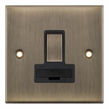 Slimline Antique Brass 13A Fused Spur  - Switched