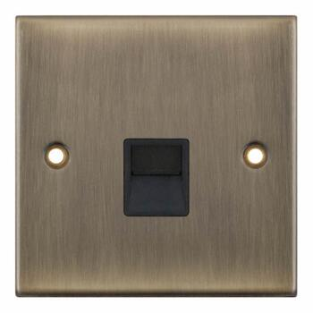 Slimline Antique Brass Single Phone Socket - Secondary / Slave