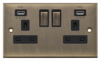 Slimline Antique Brass USB Socket  - Double With 2 USB